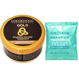 COCOCHOCO Professional Gold Keratin Starter Kit - Gold Keratin Hair Treatment (100 ml) und Clarifying Shampoo (50 ml) - Formaldehyd Frei - Komplex Keratin Kur für Haarglättung - Für alle Haartypen